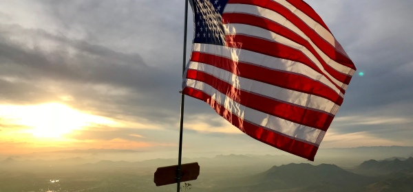 American Flag on the summit of Black Mountain in Cave Creek, AZ