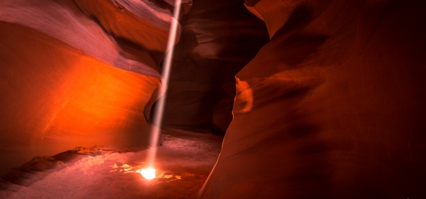 """Light filters down to the depths of Antelope Canyon in Arizona"""