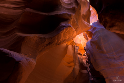 Antelope Canyon with light filtering down from above.