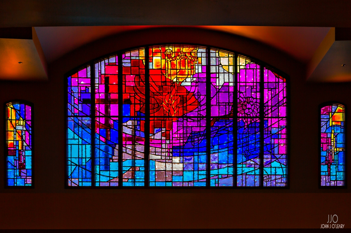 Stained-glass windows in the Phoenix Seminary.