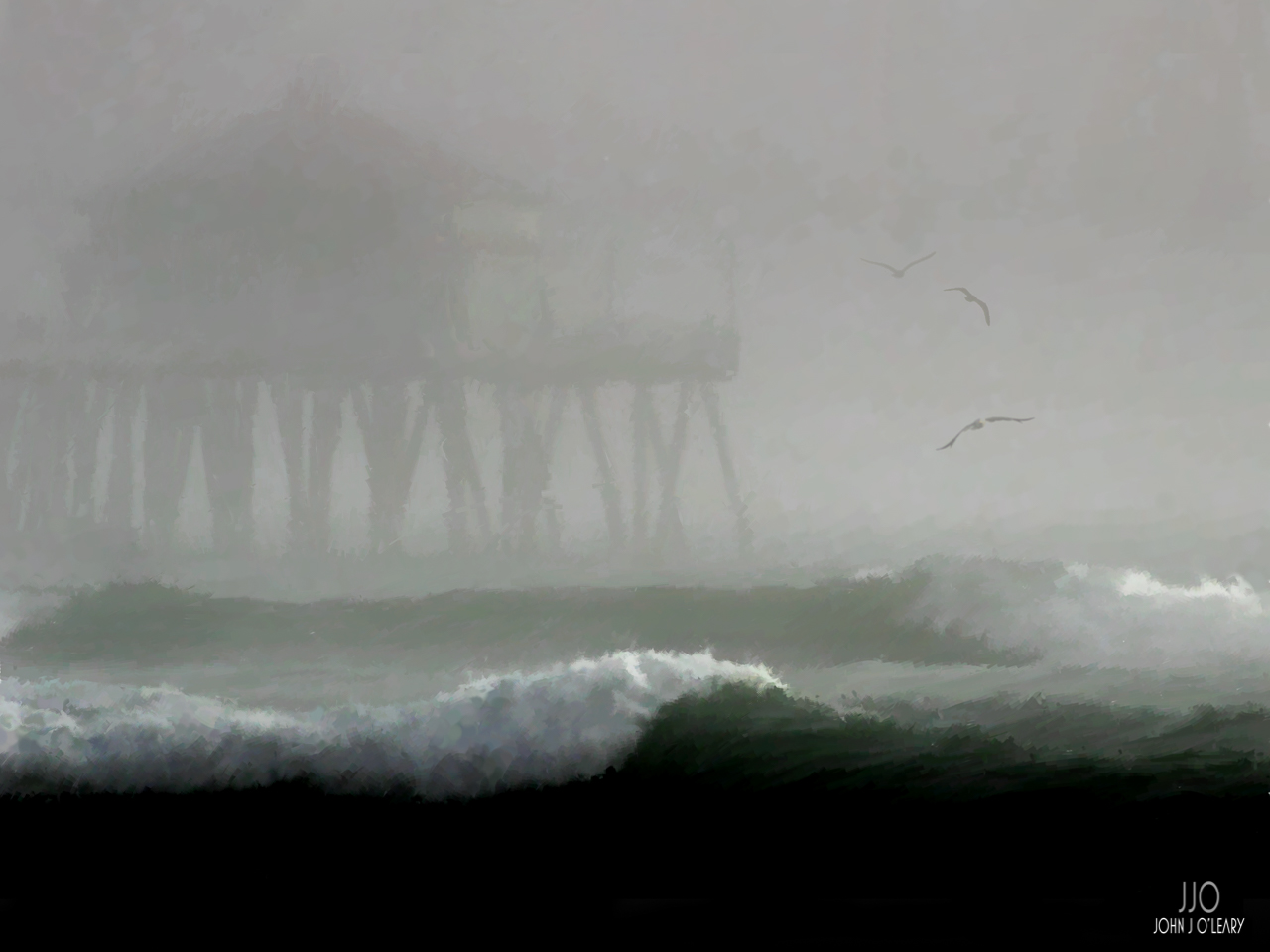 Fog envelopes the pier at Huntington Beach, California