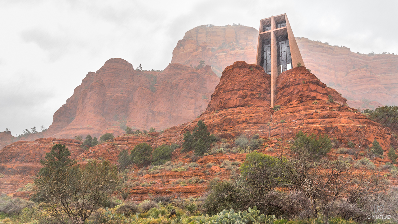 The Chapel of the Holy Cross during an April snowstorm in Sedona